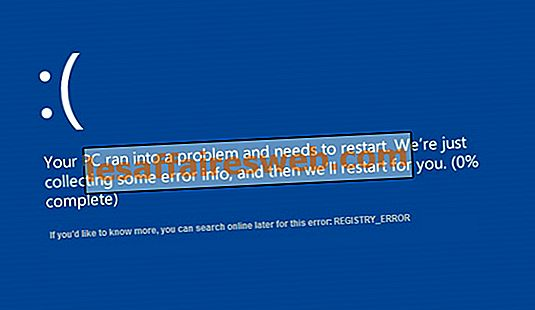 Beheben Sie REGISTRY_ERROR-Bluescreen-Fehler
